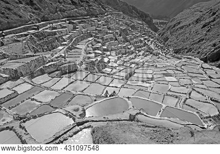 Monochrome Image Of Salineras De Maras, A Historic Salt Mines In The Canyon Of The Sacred Valley Of