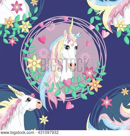 Pattern With Cute Unicorns, Clouds,rainbow And Stars. Magic Background With Little Unicorns
