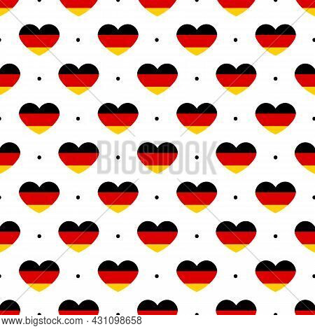 Vector Seamless Pattern Background With German Heart-shaped Flags And Dots For Unity Day And Other N