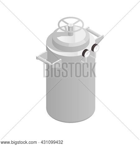 Microbiology Biotechnology Isometric Composition With Isolated Image Of Vertical Capsule For Storing