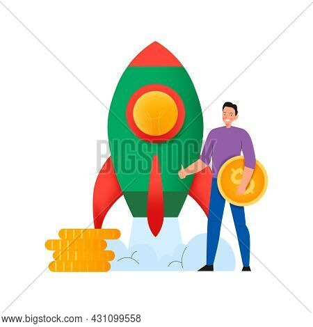 Crowdfunding Composition With Flat Icons Of Launching Rocket With Man Holding Dollar Coin Vector Ill