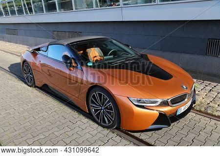 Dusseldorf, Germany - September 19, 2020: Bmw I8 Plug-in Hybrid Sports Car Parked In Germany. There