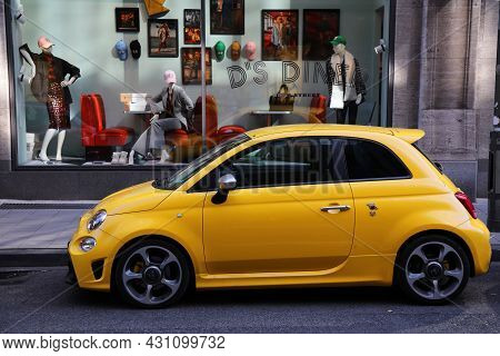Dusseldorf, Germany - September 19, 2020: Fiat 500 Abarth Small City Car Parked In Germany. There We
