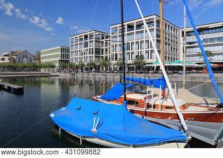 Dortmund, Germany - September 16, 2020: People Visit The Phoenix Lake (phoenix-see) In Hoerde Distri