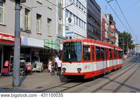 Witten, Germany - September 16, 2020: People Ride A Tram In Downtown Witten, Germany. Witten Is A La