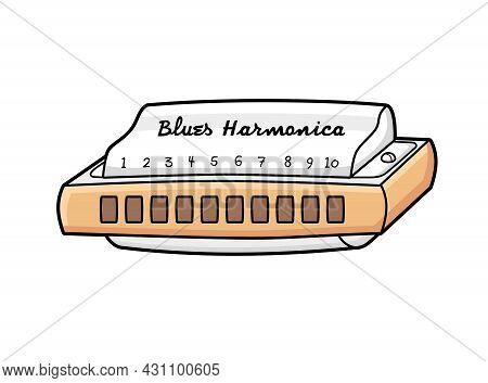 Diatonic Blues Harmonica Musical Instrument Isolated Cartoon Vector.