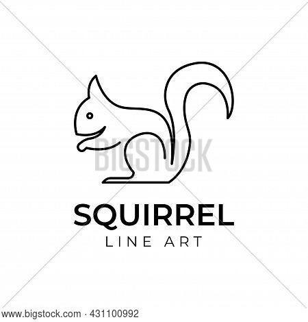 Line Squirrel Monoline Logo Vector Design Illustration