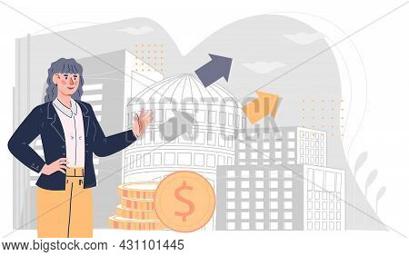 Successful Business Woman Standing Near By Stack Of Money At Cityscape Background, Flat Cartoon Vect