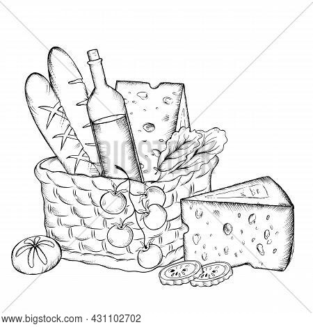 Hand Drawn Picnic Basket With Wine, Bread And Cheese, Engraving Etched Style Vector Illustration Iso
