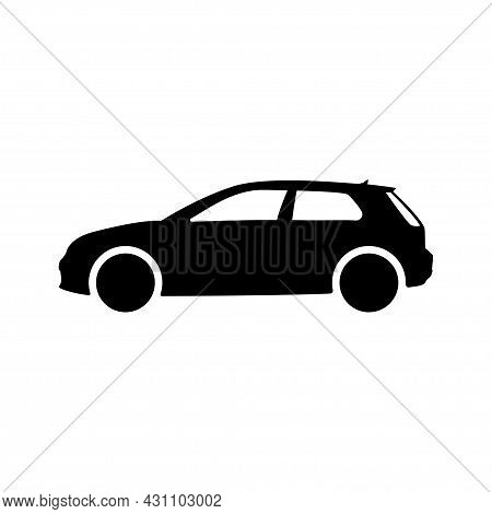 Car Transportation Vehicle Flat Auto Hatchback Isolated Traffic Icon. Black Automobile Simple Side V