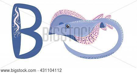 Abc Kids Blue Spotted Sea Animal Cartoon Character Ocean Animal, Cramp Fish Stingray Fish For Illust