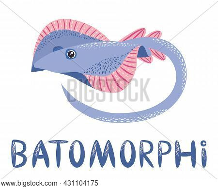 Stingray Sails Among The Fish On A White Background. Illustration On A Sea Theme In A Cartoon Childl
