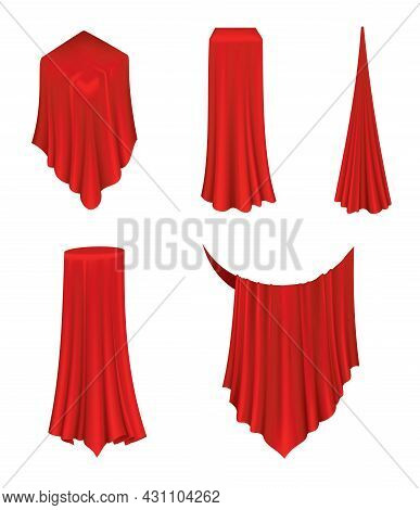 Covered Objects. Red Silk Fabric Curtain Cover. Revealer Cloth Realistic Curtains For Exhibition Wit