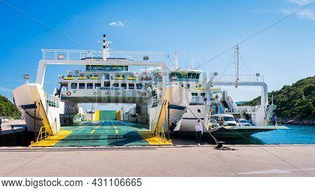 Valbiska, Croatia - June 26; 2021; Jadrolinija Ferry Crossing In Croatia - Valbiska (krk) - Merag (c