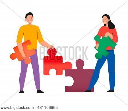 Crowdfunding Composition With Flat Icons Of Puzzle Pieces Held By Male And Female Characters Vector