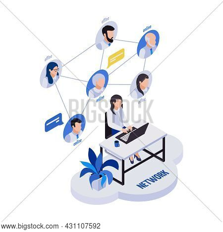 Remote Management Distant Work Isometric Icons Composition With Woman Sitting At Table With Remote W