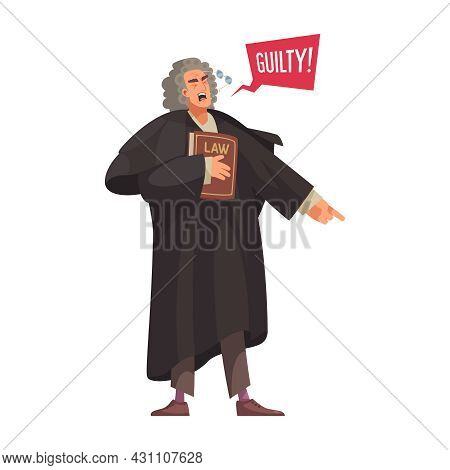Law Justice Composition With Character Of Judge Holding Book Pronouncing Guilty Vector Illustration