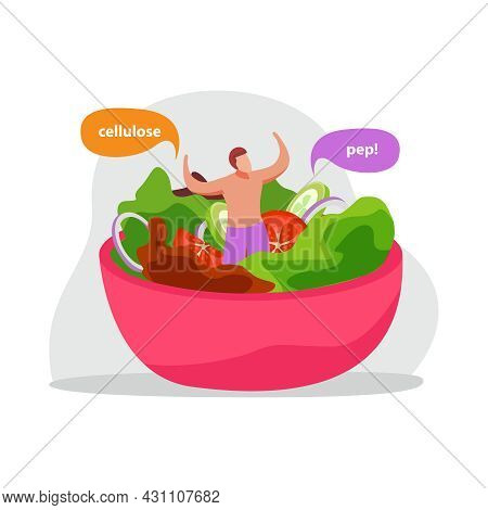 Healthy And Super Food Flat Icons Composition With Dish Of Salad With Man And Text In Thought Bubble