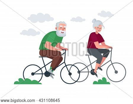Elderly Couple Of Retirees Active Healthy Lifestyle. Grandmother And Grandfather In Old Age Cycling