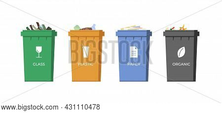 Trash Sorting Containers. Paper, Glass, Plastic And Organic Garbage In Colourful Bins For Recycling.