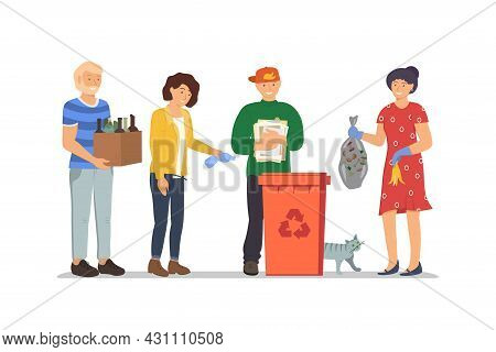 People Throw Garbage In Trash Can For Garbage Recycling. Waste Utilization In Rubbish Dustbin. Respo