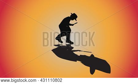 Abstract Background Of Silhouette Detective Investigate With Magnifying Glass And Shadow