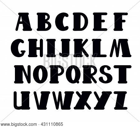 Capital Hand Drawn Black Letters Of English Alphabet In Doodle Style Outline Vector Illustration, Ca