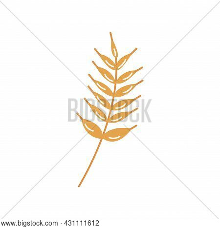 Sprig Of Wheat, Barley Or Rye. Ripe Cereal. Harvesting And Processing. Colorful Vector Isolated Illu