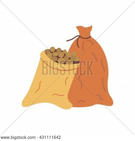 Two Sacks Of Potatoes. Full Bags, Open And Closed. Harvesting And Storage. Colorful Vector Isolated