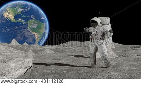 3d Rendering. Astronaut Dancing On The Moon. Cg Animation. Elements Of This Image Furnished By Nasa.