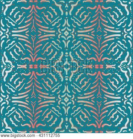 Moorish Style Geometric Vector Seamless Pattern Background. Moroccan Mosaic Effect Painterly Tiles B