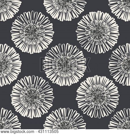 Modern Abstract Aster Flower Seamless Pattern Background. Geometric Repeat With White Black Fall Flo