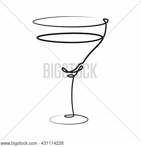 Vermouth Or Martini Wineglass On White Background. Graphic Arts Sketch Design. Black One Line Drawin