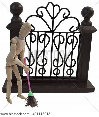 Mopping The Floor Outside The Fence To Make It Clean