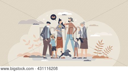 Happy Family As Joy Moment With All Relatives Together Tiny Person Concept. Grandparents, Children,
