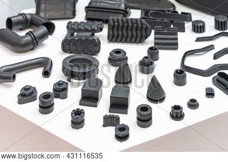 Various Compression Molded Rubber Sample Parts Made From Manufacturing Process In Industrial E.g. Pl