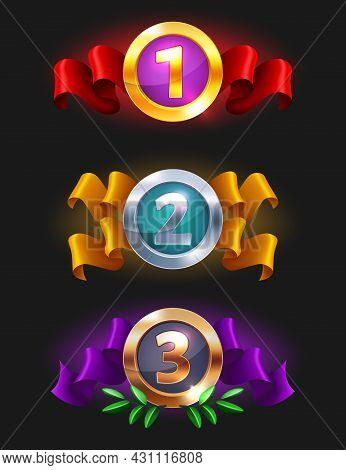 1, 2, 3 Place Medals Icon - Game Rating Icons With Medals. Level Results Vector Icon Design For Game