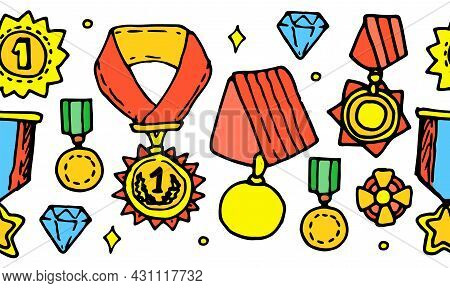Vector Template Of A Round Shape Of Medals And Cups In Color. A Border Of Vintage Gold Medals Of Var