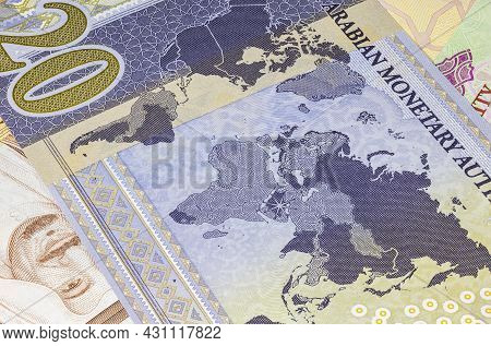 Detailed Close Up Of 20 Saudi Riyal. Saudi Arabian Currency For The G20 Summit In 2020. Money Of Sau