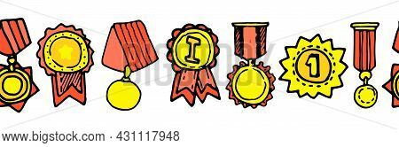 A Seamless Vector Template Made Of Gold Medals For The First Place. Horizontal Border Of Yellow Meda