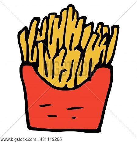 Vector Sign Of French Fries In A Red Package In A Flat Style. Drawn In The Doodle Style Fast Food Ye
