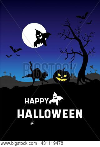 Halloween Poster With Pumpkins, Ghosts, Black Cat, Gloomy Graveyard Landscape. Festive Postcard. Vec