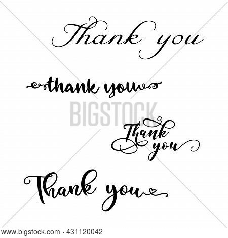Thank You Hand Lettering Custom Handmade Calligraphy, Vector Thank You Inscription Sign