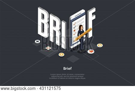 Composition With Character And Text. Isometric Vector Illustration, Cartoon 3d Style. Brief Concept.