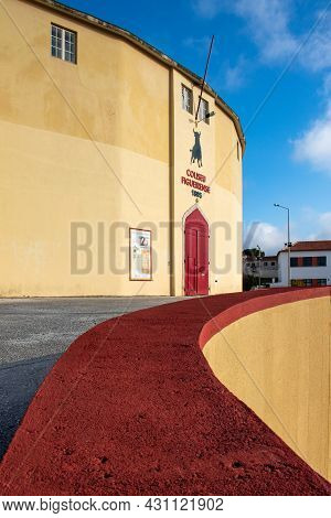 Figueira Da Foz, Portugal - July 27, 2021: Exterior View Of Bullring, Also Known As