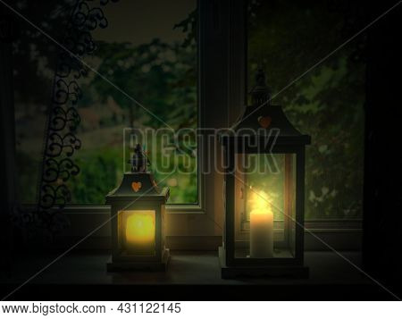 Window Sill In The Apartment. You Can See A Curtain At The Top, The Apartment Is Dimmed Outside And