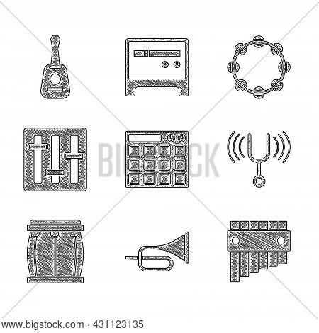 Set Drum Machine, Trumpet, Pan Flute, Musical Tuning Fork, Sound Mixer Controller, Tambourine And Gu