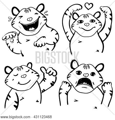 A Set Of 4 Tigers With Different Moods Coloring Vector Page Or Book