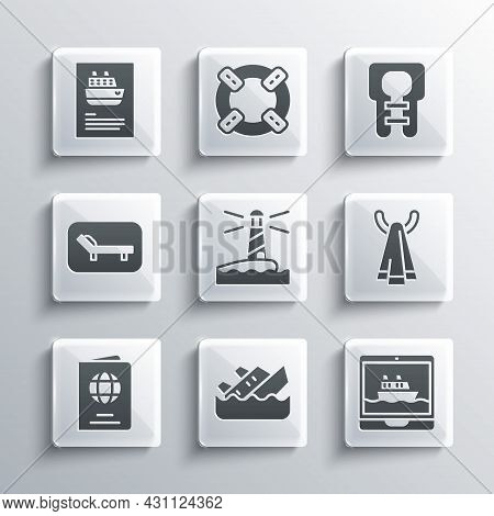 Set Sinking Cruise Ship, Cruise, Towel On A Hanger, Lighthouse, Passport, Sunbed And Umbrella, And L