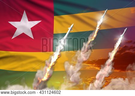 Modern Strategic Rocket Forces Concept On Sunset Background, Togo Nuclear Warhead Attack - Military